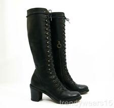 EXCELLENT $650 FIORENTINI & BAKER ITALIAN LEATHER GRANNY LACE UP MILITARY BOOT