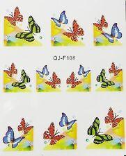 Nail art stickers bijoux d'ongles: 10 décalcomanie papillons fond coloré design