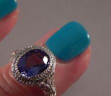 2.33 Ct. Oval Tanzanite Filigree Sterling Silver Ring