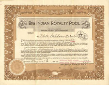 Big Indian Royalty Pool 1930 Oklahoma City oil preferred stock certificate share