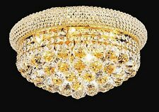 "Palace  Bagel 16"" 8 ight Gold Crystal Chandelier Ceiling Flush Mount Light"