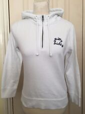 Hollister Gilly Hicks Women White Zip Drawstrings 3/4 Sleeve Hoodie Size S