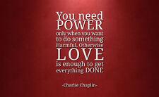 """Incorniciato stampa-CHARLIE CHAPLIN preventivo """"POWER & LOVE"""" (foto poster arte Word)"""