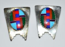 VTG Sterling Silver .925 Multi-Stone Inlay Post Earrings Turquoise Malachite