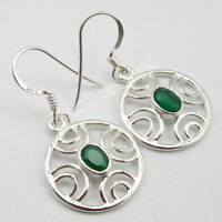 """925 Stamp Pure Sterling Silver Green Onyx Drop Earrings 1.3"""" Fashion Gemstone"""
