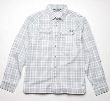 Under Armour Fish Hunter Plaid LS Shirt (L) Gray
