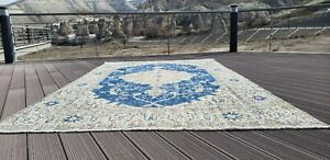 Beautiful  Antique Cr1900-1939's Wool Pile Teal Blue Armenian Oushak Rug 7x10ft