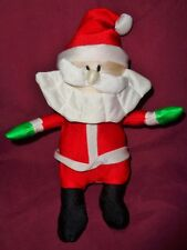 """Christmas Santa polyester stretchy material 9"""" VTG stuffed with foam beads"""