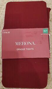 Merona Premium Opaque Tights Berry Maroon Nylon Spandex Size M/T