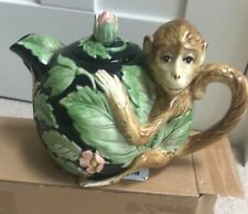 More details for pottery teapot monkey- chimp hand painted animal teapot by fitz and floyd 1986