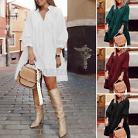 Women Puff Sleeve V Neck Knee Length A-Line Solid Shirt Dress Pullover Plus Size
