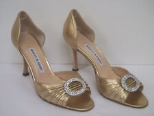 MANOLO BLAHNIK Sedaraby gold leather rhinestone detail heels 37.5 WORN TWICE