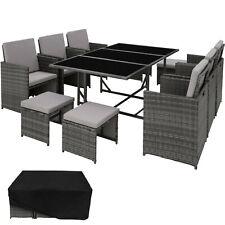 Ensemble Salon de Jardin Poly Rotin 6x Chaise Table Tabouret Résine Tressée Gris