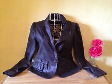Size 12 brown fitted peplum blazer jacket shiny 100% cotton bow collar detail