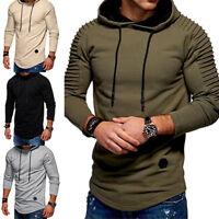 New Men Hooded Slim Tops Sports Sweatshirt Pullover Sweat Jumper Casual Fashion