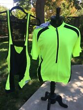 NEW Aero Tech Designs Cyclewear ~ Yellow & Black Cycling Bib Shorts & Jersey Set