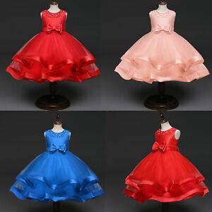 Girl Kid Flower Dress Bridesmaid Party Princess Prom Wedding Christening Dresses