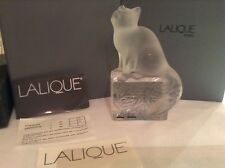 LALIQUE CAT/ KITTEN FIGURINE ON CLEAR/FROSTED BASE SIGNED MADE IN FRANCE  [NEW]