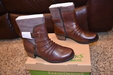 EARTH ORIGINS DOLLY WOMENS 8.5 M BROWN SOFT MACCHIATO LEATHER & PIG SUEDE BOOTS