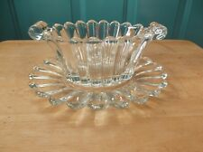 Heisey Marked Clear Glass Gravy Boat and Under Plate