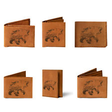 Bear with forest fires, adventure animal bear Genuine Men Leather Wallet