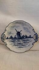 """VINTAGE BLUE AND WHITE DELFT WINDMILL PORCELAIN HANDLED 7 1/4"""" DISH TRAY"""
