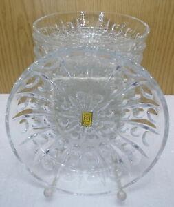 9 Stück Dessert Schalen Salatschalen Kristallglas Teller D14cm