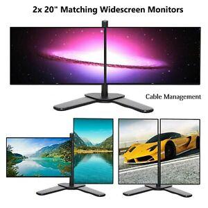 "Cheap Gaming Dual COMPUTER PC LAPTOP Monitor 2 x  20"" Widescreen VGA DVI HP DELL"