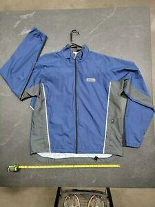 Sugoi Men's Zap Cycling Jacket Blue Light Gray Reflective XL Windbreaker
