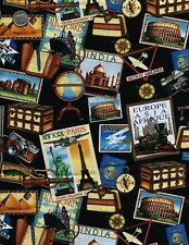 #005 ON THE ROAD- TRAVEL - EUROPE - ASIA - AFRICA - QUILT FABRIC -OOP -HHF- FQ*