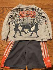 Lot 2, 3T Toddler Adidas Shorts & Long Sleeve Basketball Shirt, Red, Gray, Navy