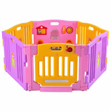 Adjustable 6 Panel Baby Kids Playpen Safety Lock Gate Play House Yard Toy Room