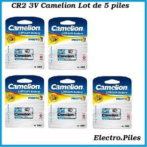 Lot de 5 piles/cells spéciales photos CR2 3V lithium Camélion