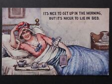 Comic Postcard: NICE TO GET UP IN THE MORNING BUT ITS NICER TO LIE IN BED..c1918