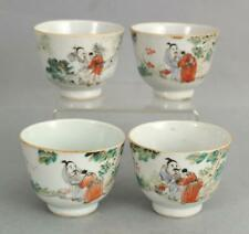 4 Antique 18thC Chinese Qianlong Hand Painted Export Porcelain Sake Cups