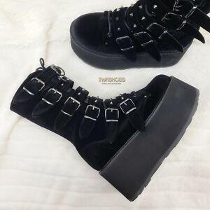 "Damned 225 Goth Punk Rock 3.5"" Platform Calf Boots Black Velvet Restocked NY"