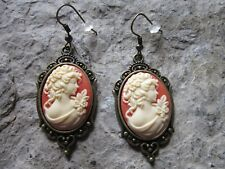 Earrings - Quality - Carnelian Victorian Woman Portrait Cameo Antiqued Bronze