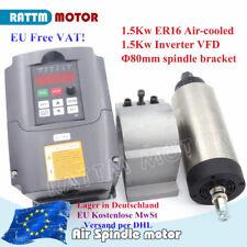 【UK】CNC Air Cooled Spindle Motor 1.5KW 220V ER16+1.5KW Inverter 220V+80mm Clamp
