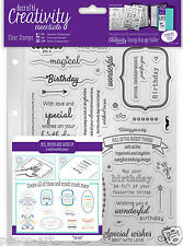 Docrafts Papermania BIRTHDAY VERSES A5 stamp set 39 pc + storage folder pocket