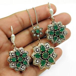 925 Sterling Silver Emerald CZ Earring Pendant Jewelry Handmade Tribal Set RS42