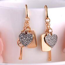 Fashion Gold Plated  Lock Key Rhinestone Heart Style Chandelier Brand Earrings