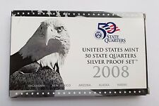 2008 UNITED STATES MINT 50 STATE QUARTERS SILVER PROOF SET, SET OF 5 SILVER COIN