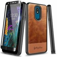 For LG Neon Plus (AT&T) Case Shockproof Leather Phone Cover + Tempered Glass