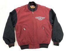 Vtg Harley Davidson Motorcycle 95th Ann. Wool Black Burgundy Jacket Mens Small