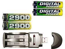 AA/AAA USB Charger + 2 AA 2900 mAh + 2 AAA 1200 mAh AccuPower NiMH Batteries