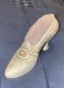 Antique Vintage Florenza Pewter Shoe Pin Cushion Holder