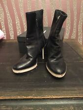 Women's Black Leather Ankle ANN DEMEULEMEESTER Boots Shoes Heels