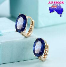 Elegant 18K Gold Filled Huggie Hoop Big Blue Zircon Crystal Earrings