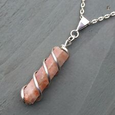 Silver Plated Wire Wrapped Sunstone Point Pendant Pagan Wicca Chakra Unisex