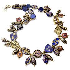 "Lapis Purple Howlite Brass 24"" Necklace Tibetan Nepalese Handmade  N2377"